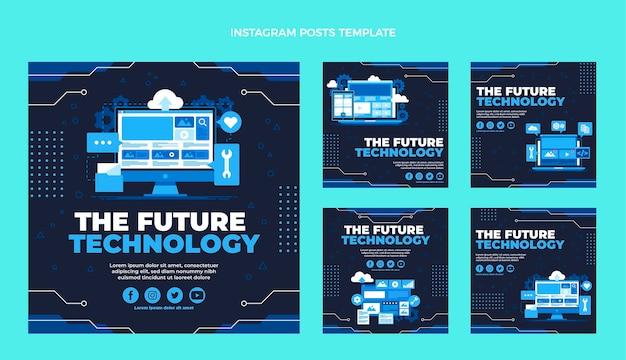 Płaska konstrukcja minimalistyczna technologia ig posts