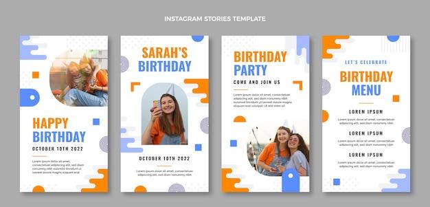 Płaska konstrukcja minimalistyczne historie urodzinowe na instagramie