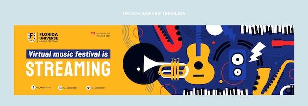 Płaska konstrukcja minimalistycznego festiwalu muzycznego twitch banner