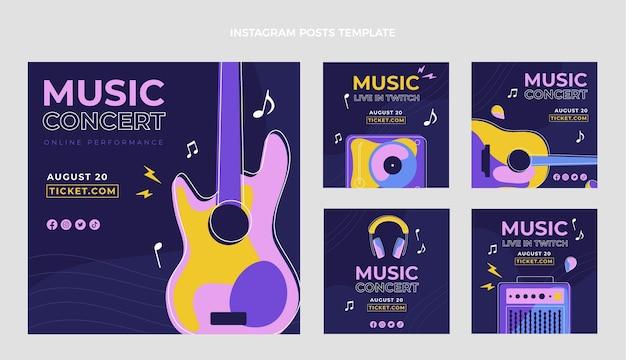 Płaska konstrukcja minimalistycznych postów na festiwalu muzycznym