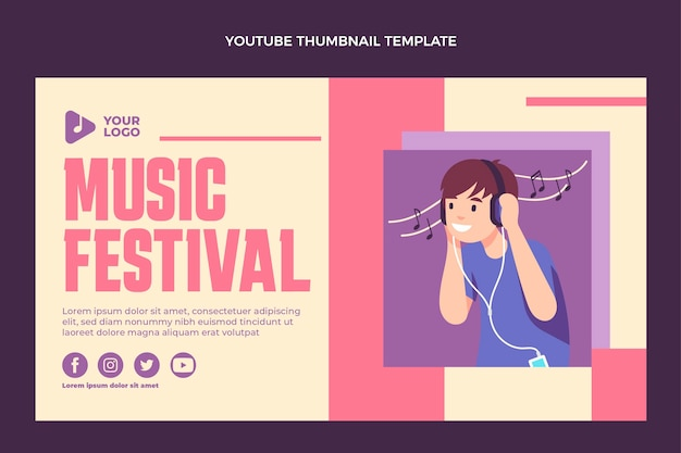Płaska konstrukcja minimalna miniatura festiwalu muzycznego youtube