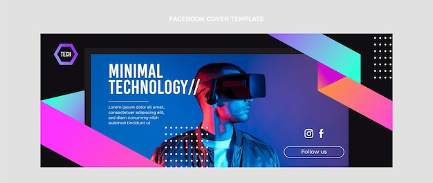 Płaska konstrukcja minimalna technologia okładka na facebooku