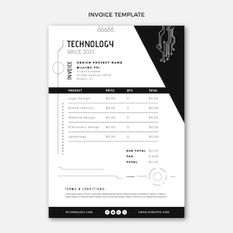 Płaska konstrukcja minimalna technologia szablonu faktury