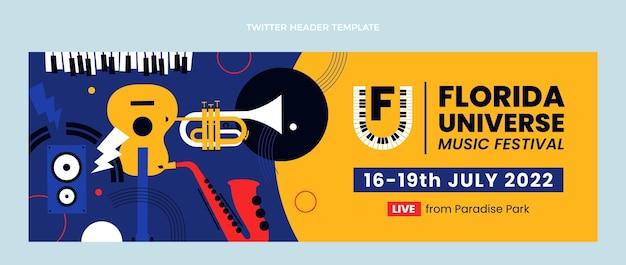 Płaska konstrukcja minimalnego nagłówka festiwalu muzycznego na twitterze