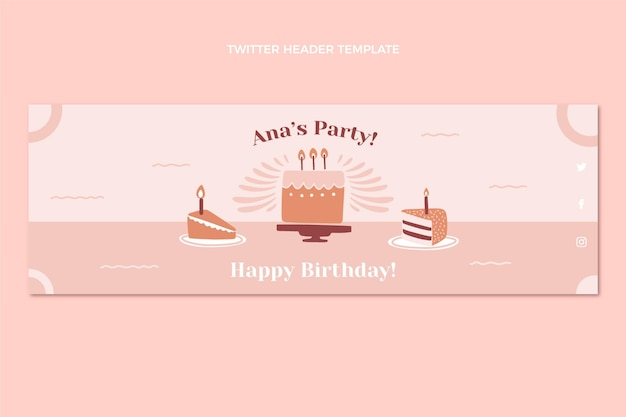 Płaska konstrukcja minimalnego nagłówka twittera urodzinowego