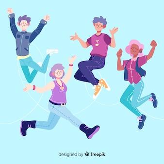 Płaska konstrukcja młodych ludzi skaczących