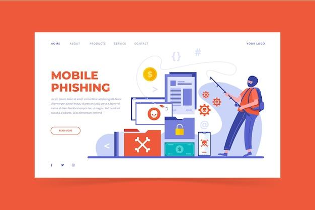Płaska konstrukcja mobilnej strony docelowej phishingu