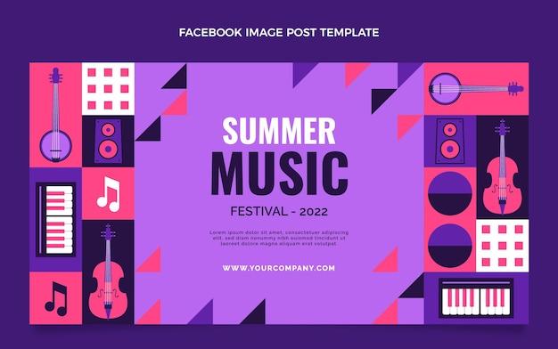 Płaska konstrukcja mozaiki festiwal muzyczny szablon postu na facebooku
