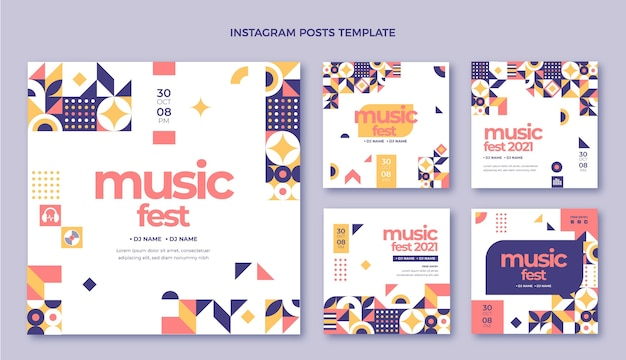 Płaska konstrukcja mozaiki na festiwalu muzycznym na instagramie post