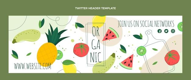 Płaska konstrukcja nagłówka twittera żywności ekologicznej