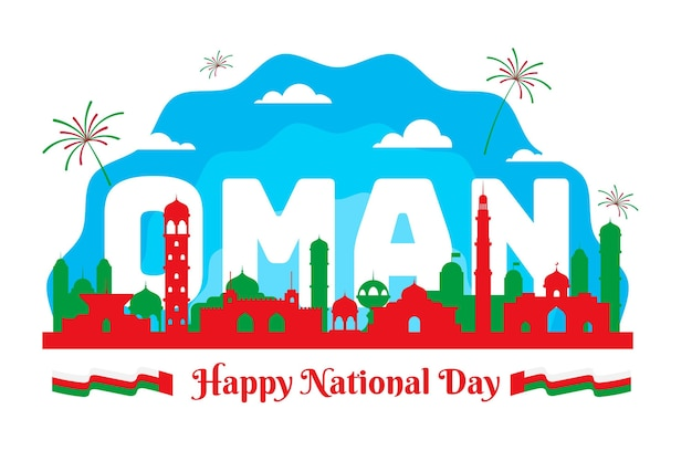 Płaska konstrukcja narodowego dnia omanu i kraju