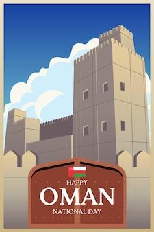 Płaska konstrukcja narodowego dnia omanu