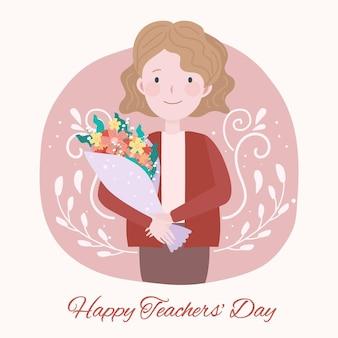 Płaska konstrukcja nauczyciela trzymając kwiaty