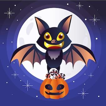 Płaska konstrukcja nietoperza halloween z cukierkami