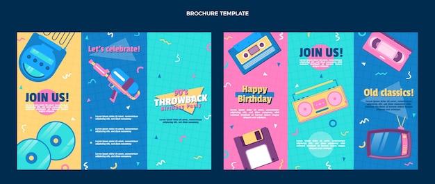 Płaska konstrukcja nostalgiczna broszura urodzinowa z lat 90.