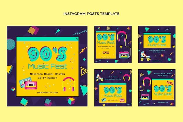 Płaska konstrukcja nostalgicznego festiwalu muzycznego post na instagramie