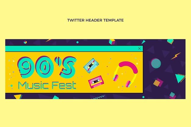 Płaska konstrukcja nostalgicznego nagłówka festiwalu muzycznego na twitterze