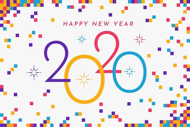Płaska konstrukcja nowego roku 2020 koncepcja tło