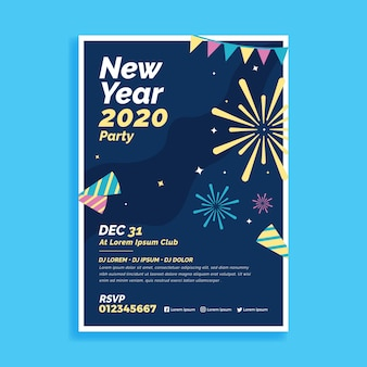 Płaska konstrukcja nowego roku 2020 szablon ulotki partii
