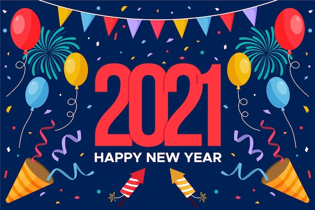Płaska konstrukcja nowego roku 2021