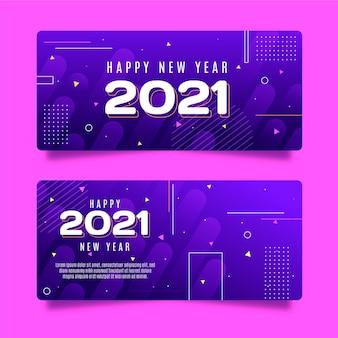Płaska konstrukcja nowego roku banery szablon strony