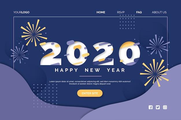 Płaska konstrukcja nowego roku strona docelowa szablon
