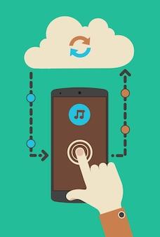 Płaska konstrukcja nowoczesnej koncepcji mobilnego odtwarzacza multimedialnego z synchronizacją dotykową technologii chmury
