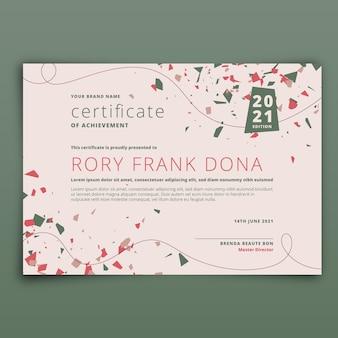 Płaska konstrukcja nowoczesny certyfikat osiągnięcia