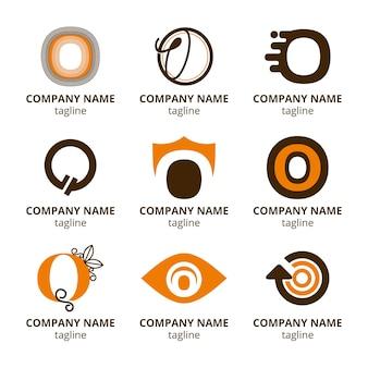 Płaska konstrukcja o kolekcja szablonów logo