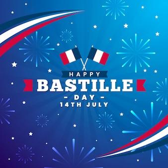 Płaska konstrukcja obchodów dnia bastylii