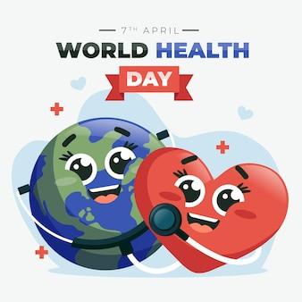 Płaska konstrukcja obchodów światowego dnia zdrowia