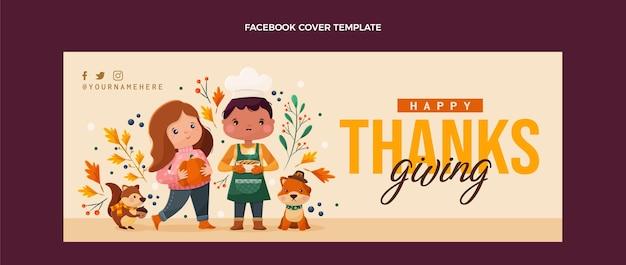 Płaska konstrukcja okładki na facebooku na święto dziękczynienia