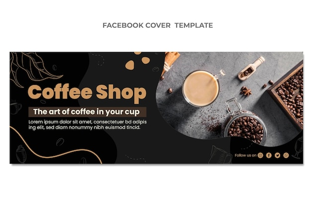 Płaska konstrukcja okładki na facebooku z jedzeniem
