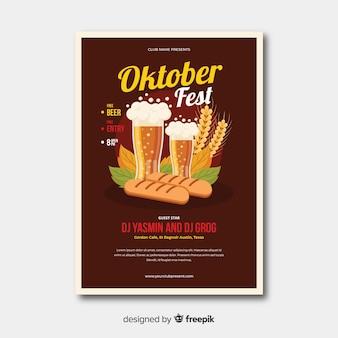 Płaska konstrukcja oktoberfest plakat templa