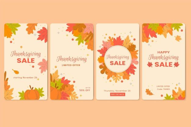 Płaska konstrukcja opowiadań na instagramie z okazji święta dziękczynienia