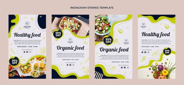 Płaska konstrukcja opowiadań o zdrowej żywności na instagramie