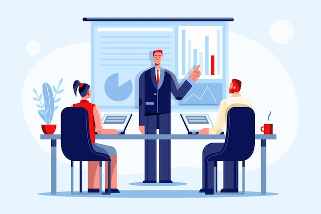Płaska konstrukcja osób na szkoleniach biznesowych