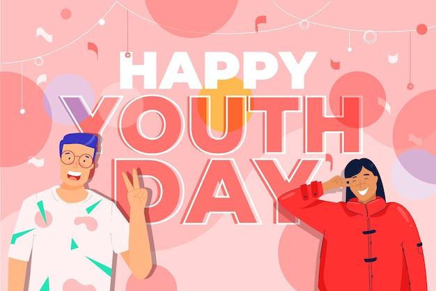 Płaska konstrukcja osób obchodzi dzień młodzieży