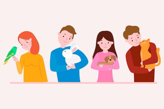 Płaska konstrukcja osób z różnymi zwierzętami