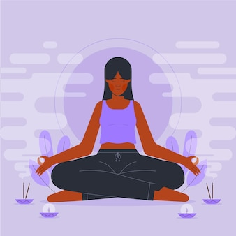 Płaska konstrukcja osoby medytującej