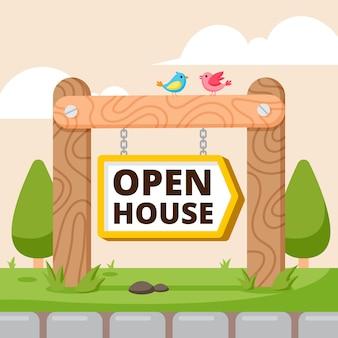 Płaska konstrukcja otwarty dom znak