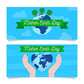 Płaska konstrukcja paczka matka dzień ziemi transparent