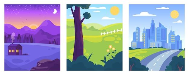Płaska konstrukcja pakiet różnych ilustracji krajobrazowych