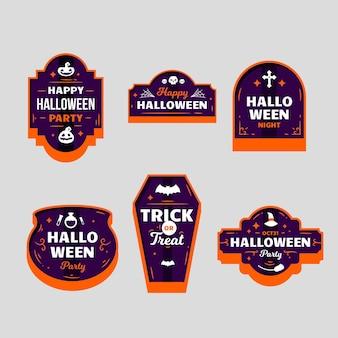 Płaska konstrukcja pakietu etykiet halloween