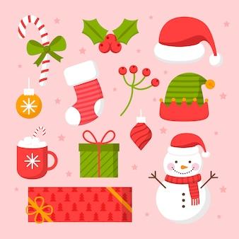 Płaska konstrukcja pakietu ilustracji świątecznych elementów