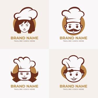 Płaska konstrukcja pakietu szablonów logo szefa kuchni