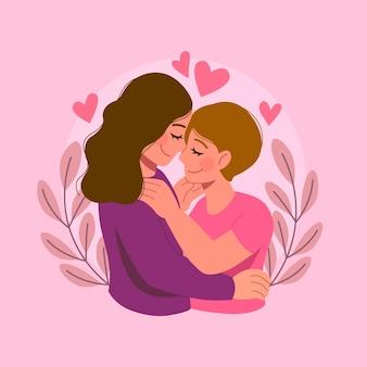 Płaska konstrukcja para lesbijek w miłości