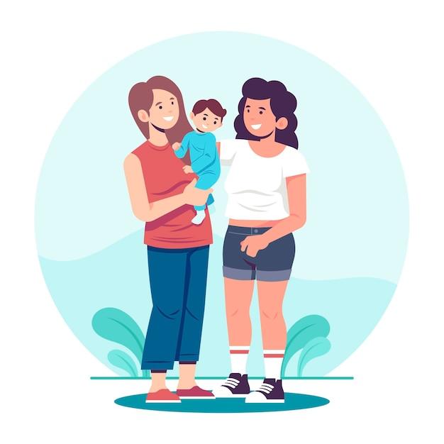 Płaska konstrukcja para lesbijek z ich dzieckiem