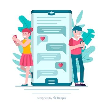 Płaska konstrukcja para na czacie w aplikacji randkowej
