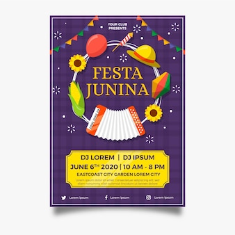 Płaska konstrukcja plakat świątecznych przedmiotów festa junina